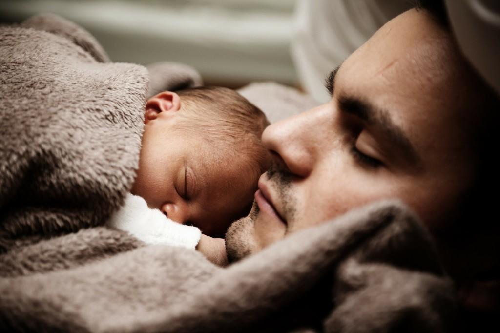 spavanje, dijete, otac