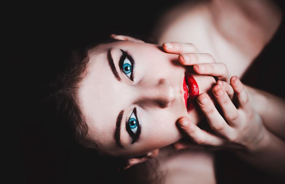 oči, usne, plave oči, žena, šminka