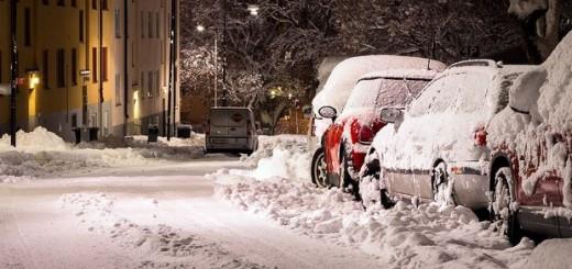cesta, snijeg, zima, grad