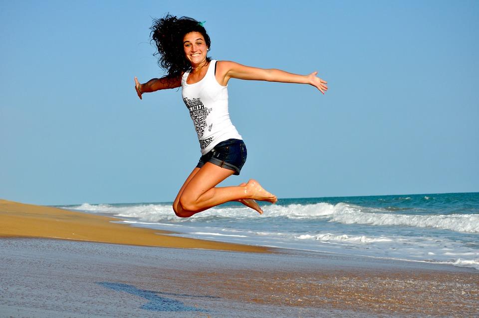 fitness, more, radost, djevojka, žena