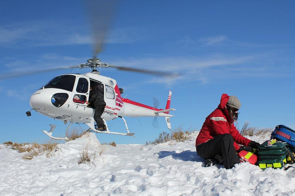 helikopter, hitna pomoć, snijeg, planina