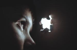 ilustracija, oko, strah, dječak, djevojčica, nasilje