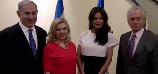Benjamin Netanyahu sa suprugom Sarom i supružnici Catherine Zeta-Jones i Michael Douglas