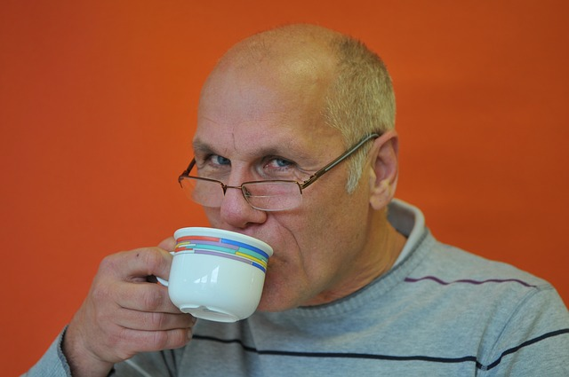 djed, muškarac, kava, čaj