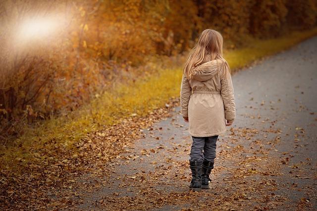 učenica, samoća, djevojčica, put, jesen