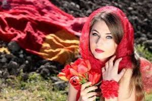 tulipani, žena, djevojka