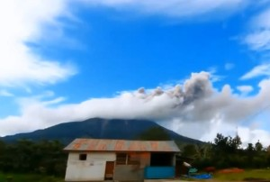 erupcija, vulkan, mount sinabung