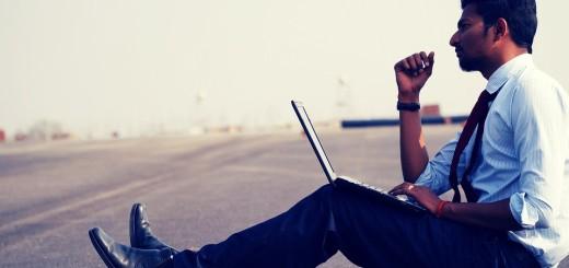 ilustracija, muškarac, laptop