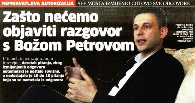 """MEDIJSKI ŠUMOVI: Zašto riječki """"Novi list"""" neće objaviti intervju s Božom Petrovom?!"""