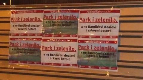 PORUKA U NOĆNOJ AKCIJI: Radnička fronta uz građane koji su rekli - ne crkvi u parku