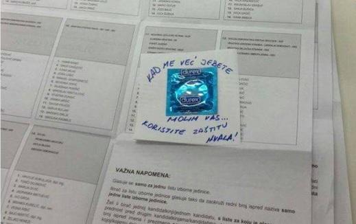prezervativ, glasački listić