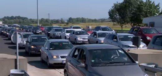 automobili, gužva, granica