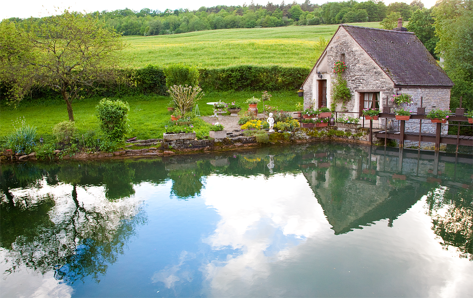 kuća, jezero, vikendica