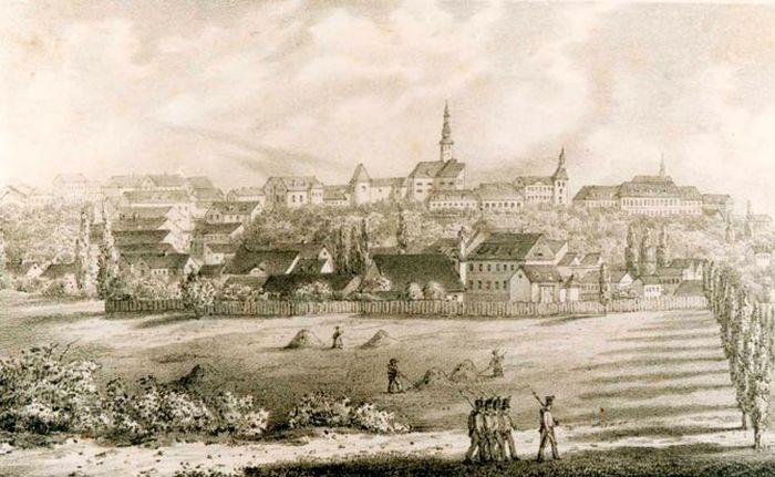 Pogled na Gornji grad oko 1845.