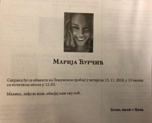 marija ćurčić, osmrtnica