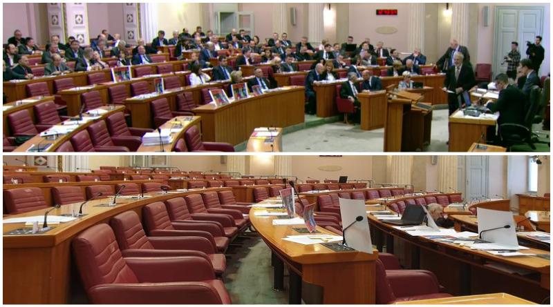Fotografija je simbolična: Gore su dizači ruku koji dolaze na glasanje jer moraju, a dolje je situacija za mnogih rasprava