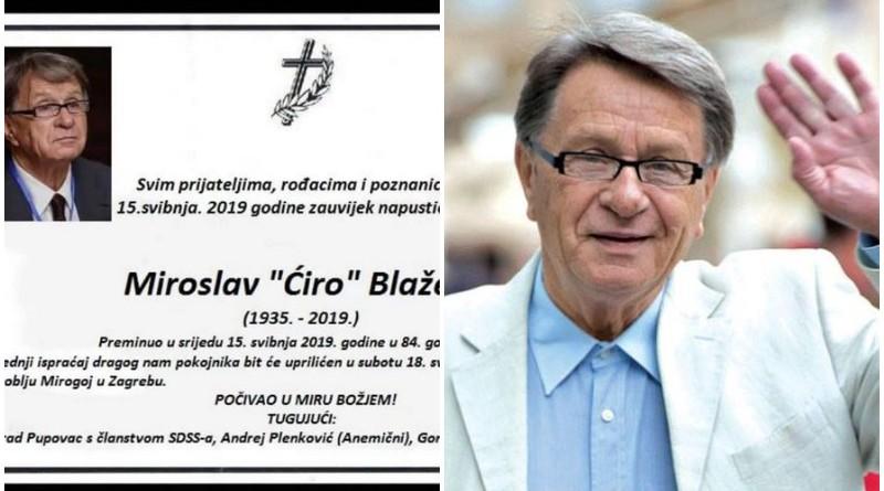 miroslav ćiro blažević, osmrtnica