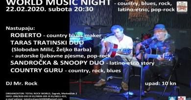 CADILLAC CLUB ZOVE: Subota, 22. veljače, rezervirana za World music night